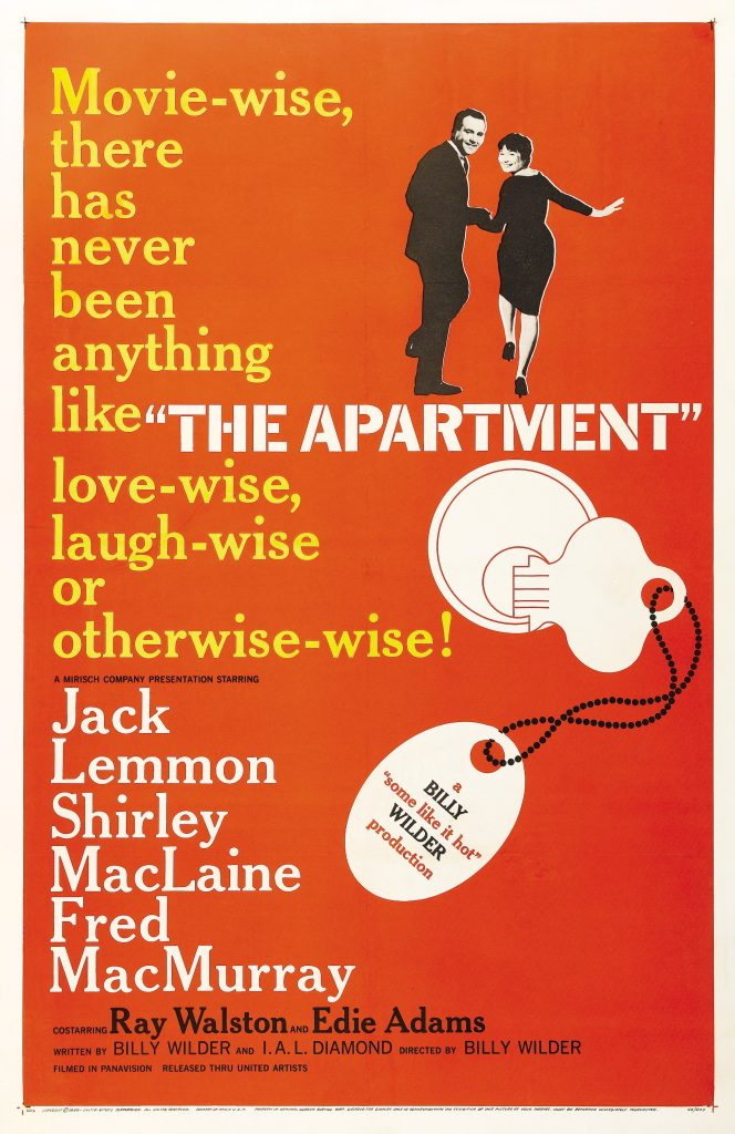 The poster for the Apartment - orange, with big tag line 'Movie-wise, there has never been anything like The Apartment, love-wise, laugh-wise or otherwise.'