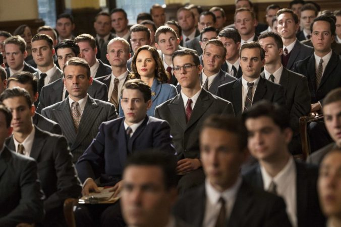 Ginsburg as the only female face in a sea of grey suited men, from On the Basis of Sex