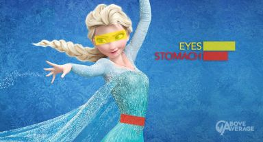 A graphic of Elsa showing how wider her eyes are than her stomach