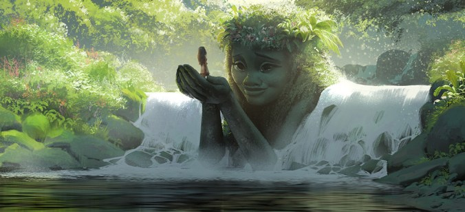 An image from Moana of Te Fiti holding Moana in her hands