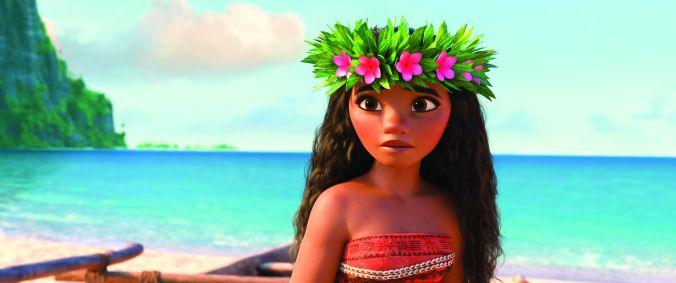 Moana wearing her chieftain's headdress