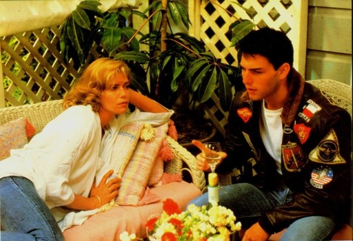 An image from Top Gun of Charlie and Maverick sat on her patio