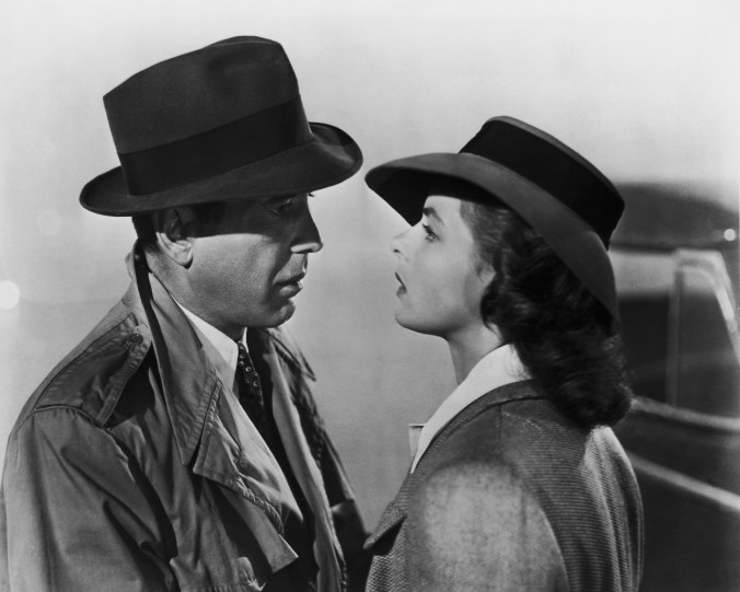 Ilsa and Rick gazing at each other at the end of Casablanca