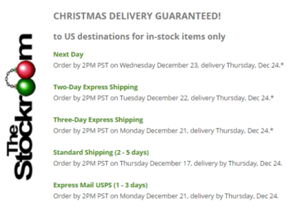 JT's Stockroom Holiday Shipping Dates