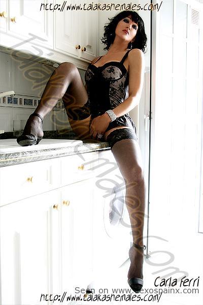 Shemale Pornstar Carla Ferri in sexy black lingerie.