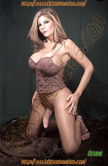 Bellas modelos transexuales con tetas enormes mostrando su verdadero sexo colgando.