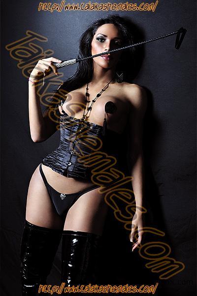 Preciosas modelos transexuales con tetas y cuerpos definidos en lencería sexy de dominatrix.