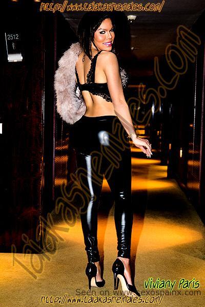 Preciosas modelos transexuales con cuerpos definidos en pantalones sexy.