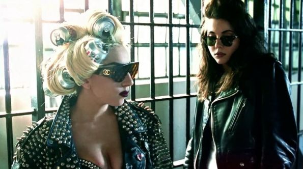 Chanel sunglasses and Diet Coke can worn by Lady Gaga and Ray Ban masterclass sunglasses worn by her sister Natali Germanotta in TELEPHONE