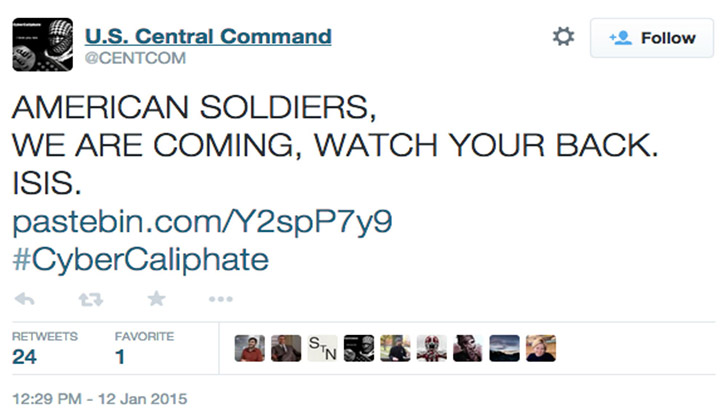 US Central Command's Twitter hacked by 'ISIS'