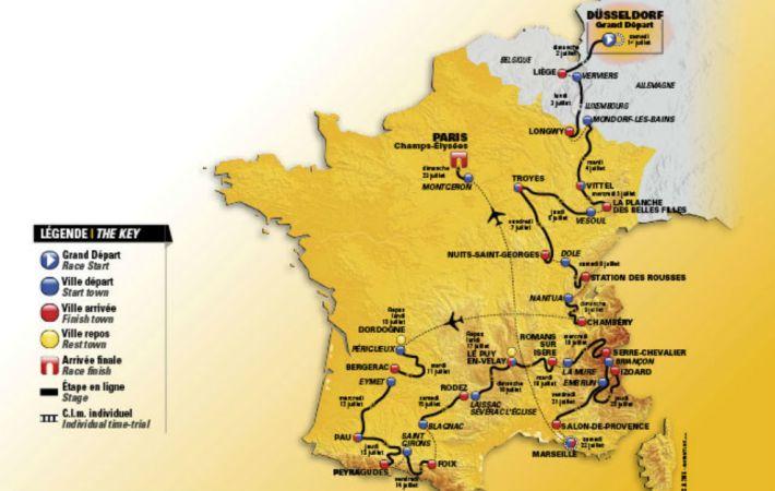 Mapa del recorrido del Tour. Fuente: marca.com