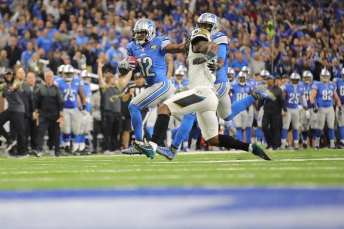 Eric Ebron fue uno de los protagonistas, tras esta espectacular carrera de 61 yardas. Foto: detroitlions.com
