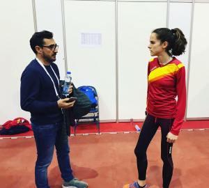 Javier Cañadillas, @JavierCaadillas , durante un entrenamiento con la gran Ana Lozano, @AnaloCL