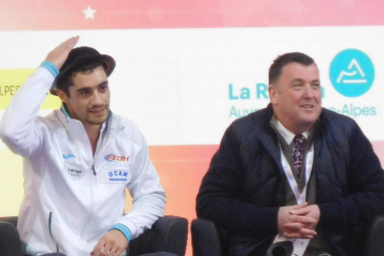 Javier Fernández junto a su antiguo entrenado Brian Orser