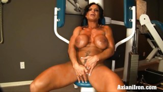 Female bodybuilder works up a sweat