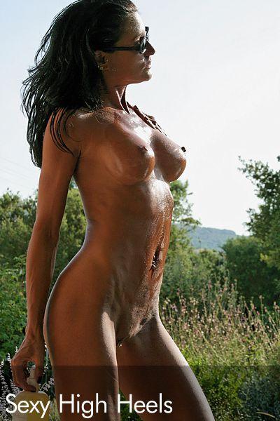 oiled nude women in high heels