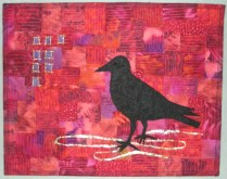 Red Crow - collaged background