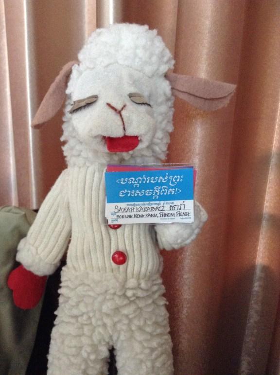 Lamb Chops wearing my Khmer convention badge.