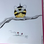 Bought a new sketch book and THIS is the first thing i decided to draw...lol. A big fat bee too scared to fly!