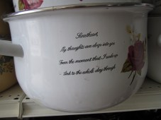 "Hey Eric and Nicole!!! Went to PENCIL recently and found this awesome pot! Who wouldn't want a cooking pot with a crooked message on the side saying ""Sweetheart, My thaughts are deep into you. Fram the moment that I wake up, And the whole day through!"" AWWWWW"