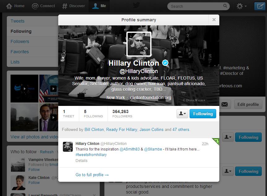 Hillary on Twitter