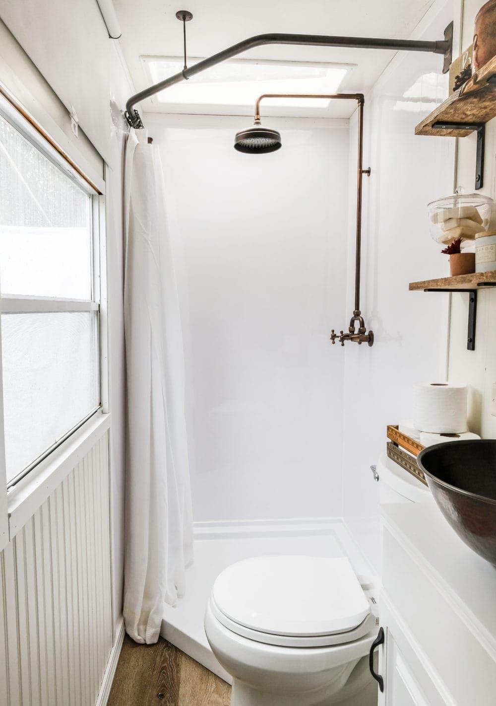 rv bathroom remodel huge shower with