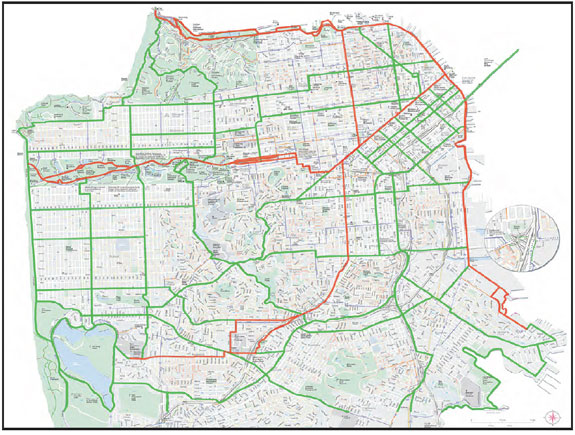A network of 128 miles of bikeways in the city. Image: SFBC
