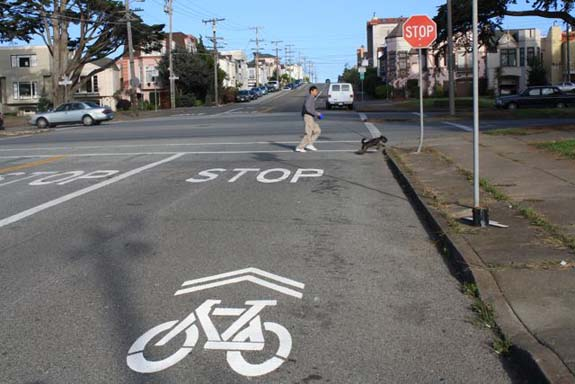 The bike lanes also turn into sharrows at Sunset Boulevard.