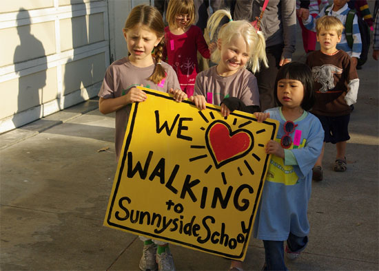 Children walk to Sunnyside School, one of the 15 Safe Routes to School facilities. Photo: Adrienne Johnson.