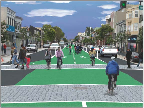 A two-way dedicated bikeway would run through the center of Valencia Street. Image: RG Architecture.
