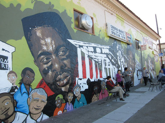A mural with Jerry Rice, Willy Mays and numerous other icons, including the old pergola constructed during the 1915 Pan-Pacific Exposition.