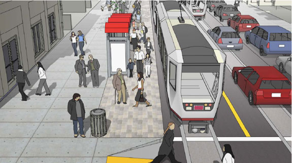 This new rendering shows 9-foot sidewalks instead of the previous 5-foot ones. Image: SF Planning Department, City Design Group