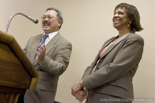 Ed Lee with Human Rights Commissioner Zula Jones. Photo: Luke Thomas, ##http://www.fogcityjournal.com/wordpress/##Fog City Journal##