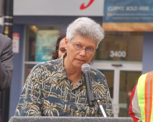 Fran Taylor speaking at the ribbon cutting today.