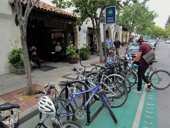 At Coupa Cafe's request, one car parking space in front of their 528 Ramona Street location in downtown Palo Alto was replaced with a bike corral that holds up to ten bikes. Photo: Andrew Boone