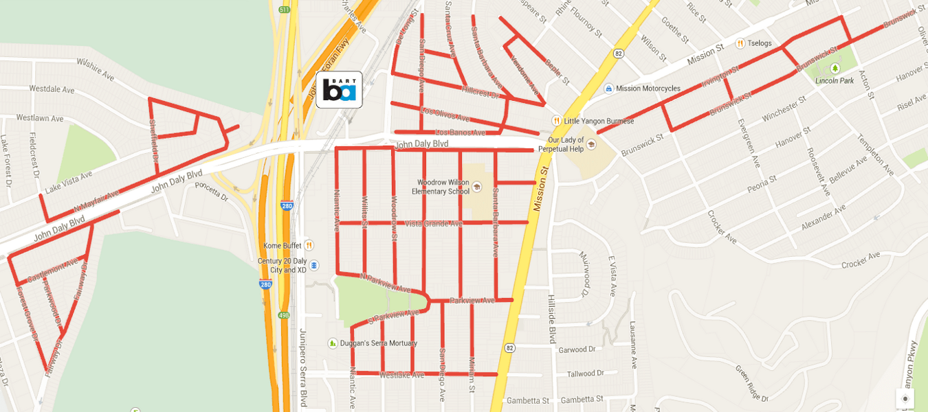 Daly City Votes to Continue Subsidizing Residential Parking Permits Dc Zone Parking Map on