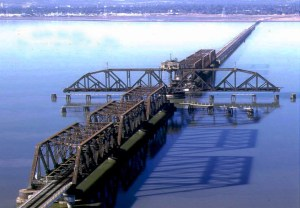 The damaged rail bridge that is part of the 20-mile Dumbarton Corridor. The Facebook study would look at the western approach area only and not the bridge itself????