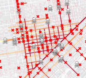 The Tenderloin sticks out on the SF Department of Public Health's map of high-injury streets. Image: SFDPH