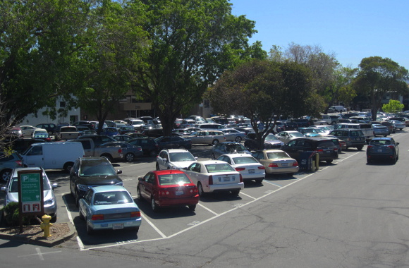 Menlo Park's popular Parking Plaza 3, one of three sites proposed for a new public parking garage. Photo: Andrew Boone