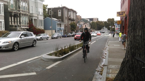 Fell Street's new planted traffic islands. Photo: Aaron Bialick