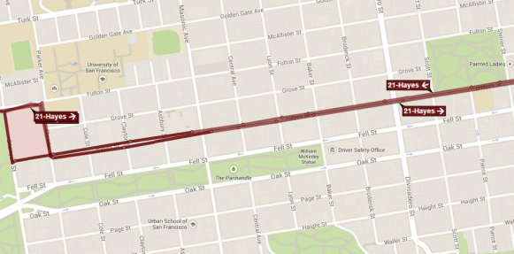 The 21 Hayes currently stops at every block for four blocks in NoPa. Image: NextBus