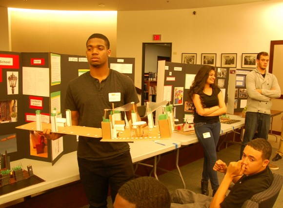 "Berkeley High School students present design concepts for ""stoplets."" Photo: Aaron Bialick"