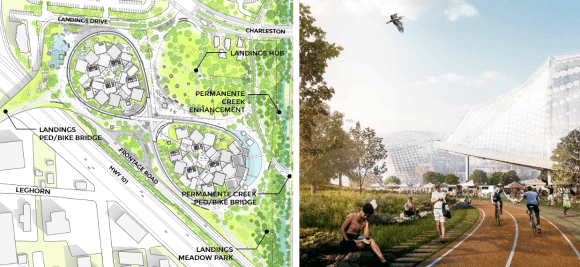 "Google's two-dome office development at Landings (left) will include a new Highway 101 bike/ped bridge, and the company's re-submitted Huff office project will incorporate the company's ""Green Loop"" mixed-use path. Image: Google"