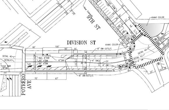 Plans for Division near Ninth and 10th include large painted bulb-outs and a installation of a missing sidewalk on Ninth. Image: SFMTA