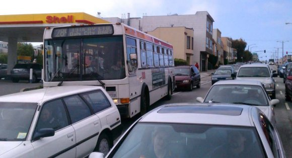 With transit bulbs, 28 bus riders will no longer have to wait for cars to leave a bus stop. Photo: SFMTA