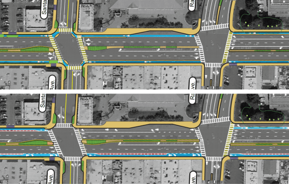 Parking spaces along El Camino Real replaced with curb-separated bike lanes (top) or buffered bike lanes (bottom). Sidewalk curb extensions and high-visibility crosswalks would improve pedestrian safety. Image: City of Menlo Park