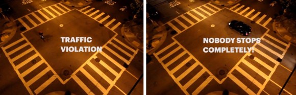 As a new video illustrates, SFPD seems to hold drivers to a different standard when they roll stop signs at Page and Scott Streets. Image: Kristin Tieche/Vimeo