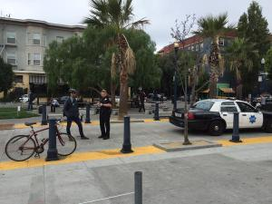 """""""Thanks SFPD for making SF a safer place! This cyclist not coming to a complete stop is really endangering my life,"""" writes Fred Stevens-Smith on Twitter"""