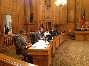 SF Supes John Avalos, Scott Wiener and Malia Cohen listened to comment on the Bike-Yield Law
