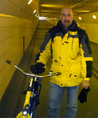 Roger poses in the bike tunnel under the Maas River in Rotterdam.